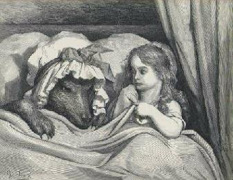 Gustave Dore, Red Riding Hood in bed with the Wolf.
