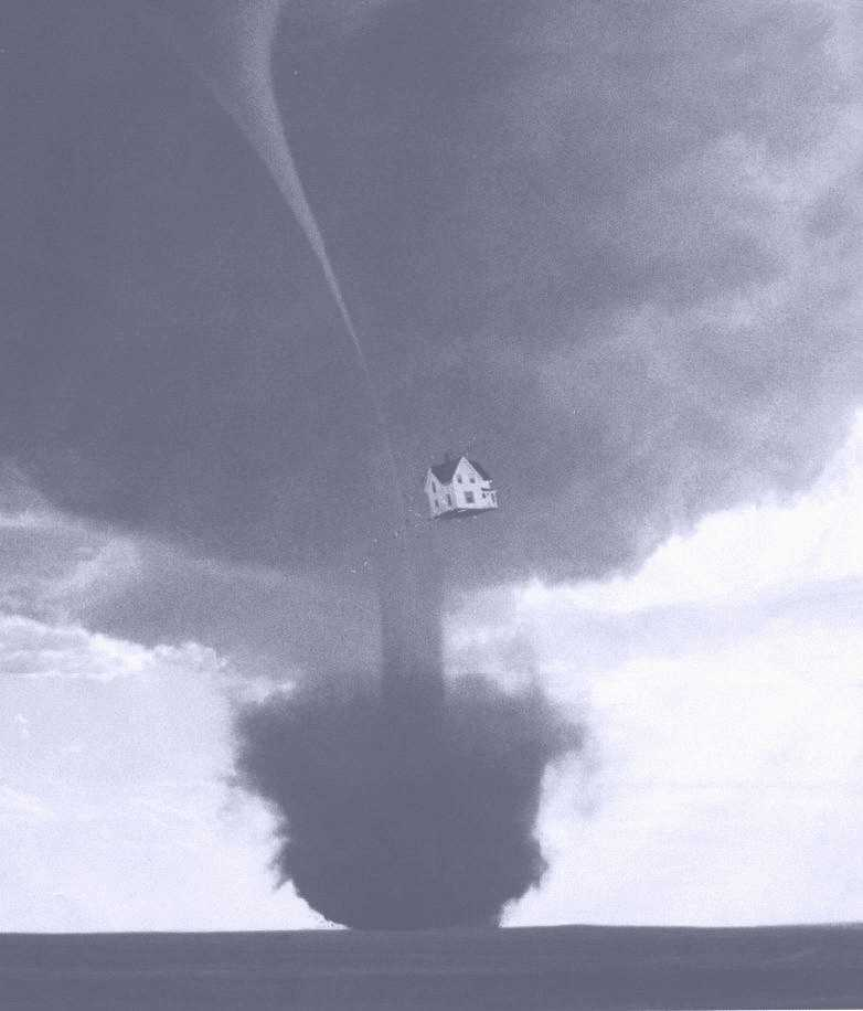 The house being taken up by a twister, still from The Wizard of OZ