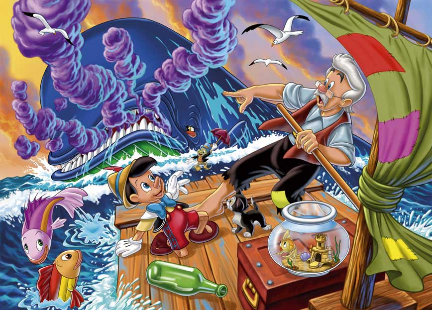 Pinocchio and his father at sea