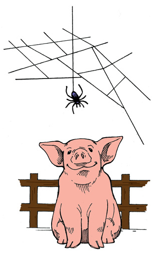 Mentoring Relationship: Wilbur mentored by a spider.
