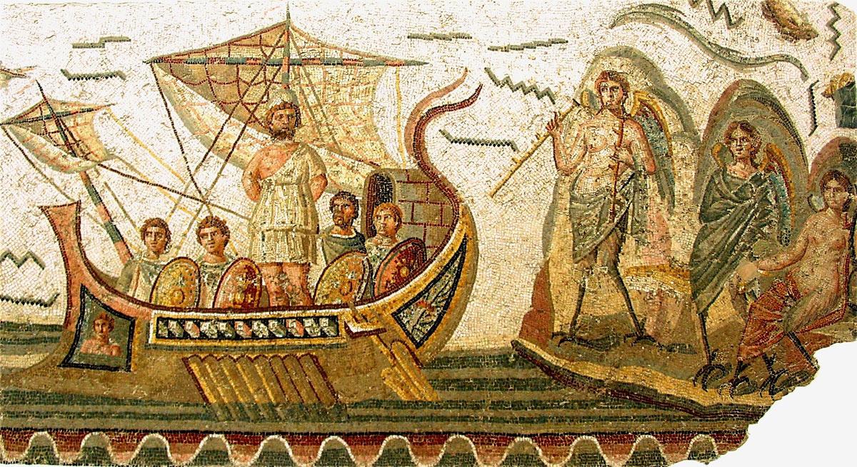 Roman mosaic: Odysseus listens to sirens