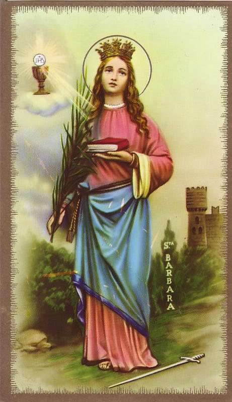 Saint Barbara, Holy Card