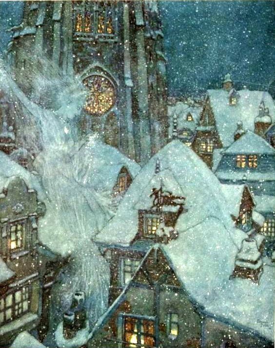 Edmund Dulac, The Snow Queen flies through the winter night