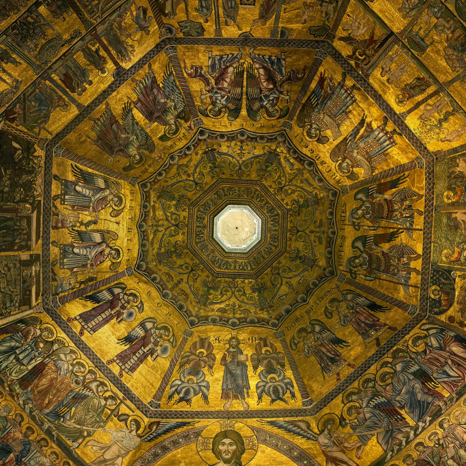 Mosaic ceiling of St. John's Basilica, Florence, Italy