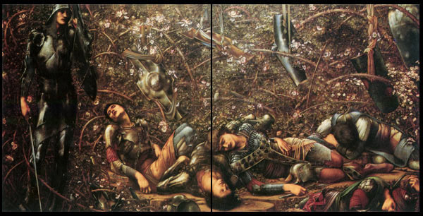 Edward Burne-Jones, Briar Rose Tiles, Knights in the Wood