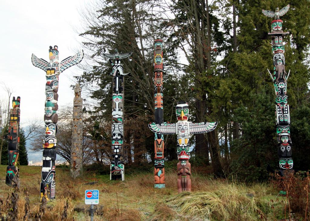 Totem poles in Stanley Park, Vancouver, British Columbia