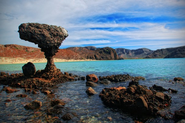 stone formations on beach in La Paz, Mexico