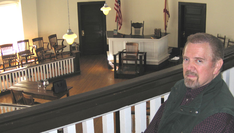 Jonathan Young in Monroeville, Alabama courtroom, set of To Kill a Mockingbird